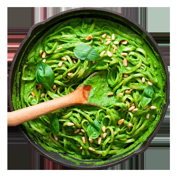 Зеленая паста и сливочный соус песто